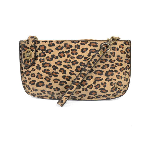 Natural Leopard Crossbody Wristlet Clutch