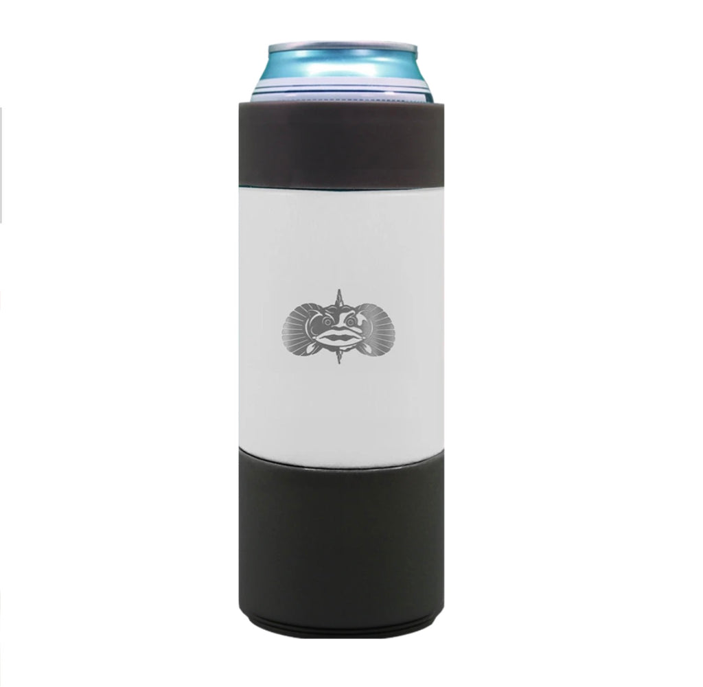 White Non-Tipping Slim Can Cooler | Toadfish