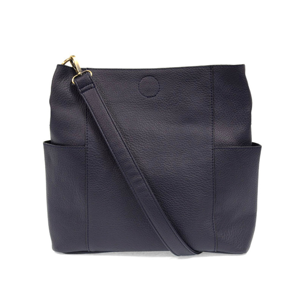 Navy Kayleigh Side Pocket Bucket Bag