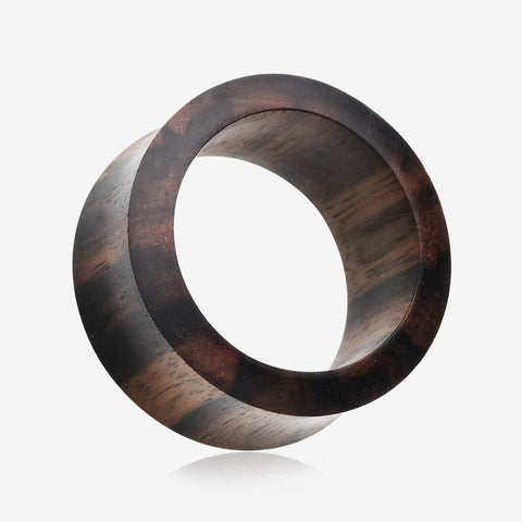 A Pair of Tiger Ebony Wood Double Flared Tunnel Plug