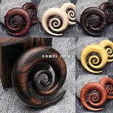5 Pairs Pack of Balimade Wood Super Spiral Hanger Plugs-Assorted