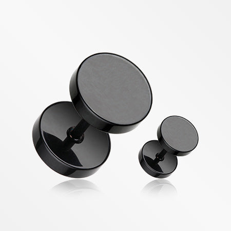A Pair of Blackline Steel Basic Fake Plug Earring