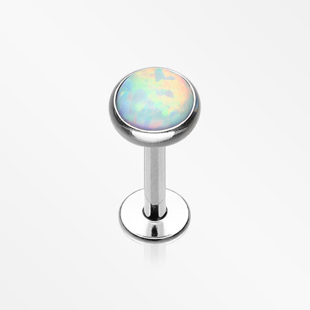 Fire Opal Internally Threaded Steel Labret-White
