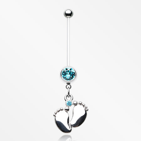 Adorable Little Feet Sparkle Bio-Flex Pregnancy Belly Button Ring-Aqua