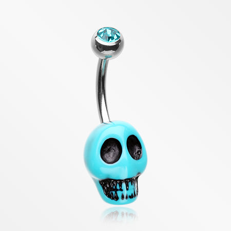 Vintage Turquoise Synthetic Skull Head Belly Button Ring-Teal