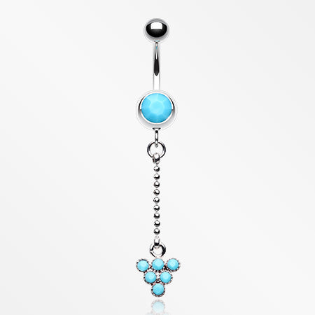 Turquoise Beads Geometric Triangle Drop Belly Button Ring