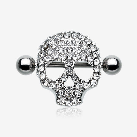 Skull Head Sparkle Nipple Shield Ring-Clear