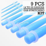 14 to 00 Gauge Neon UV Ear Stretching Taper Kit-Light Blue