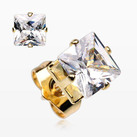A Pair of Golden Brilliant Sparkle Square CZ Stud Earrings-Clear