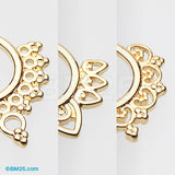 3 Pcs of Golden Filigree Fake Septum Pack-Gold