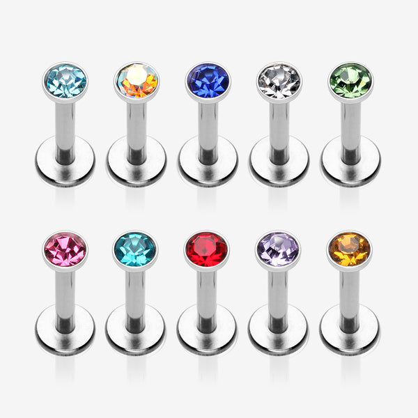 10 Pcs Pack of Assorted Gem Internally Threaded Steel Labrets