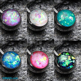 6 Pcs of Opal Sparkle Basic Belly Button Ring Package-Rainbow/Multi-Color