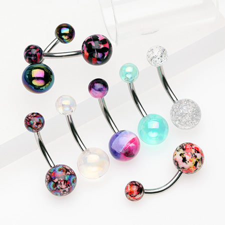 8 Pcs of Assorted Design Art Acrylic Belly Button Ring