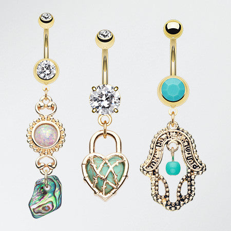 3 Pcs of Vintage Golden Dangle Belly Ring Pack-Gold