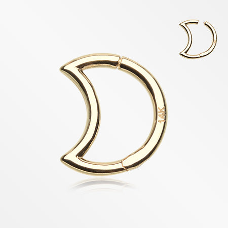 14 Karat Gold Crescent Moon Seamless Clicker Ring