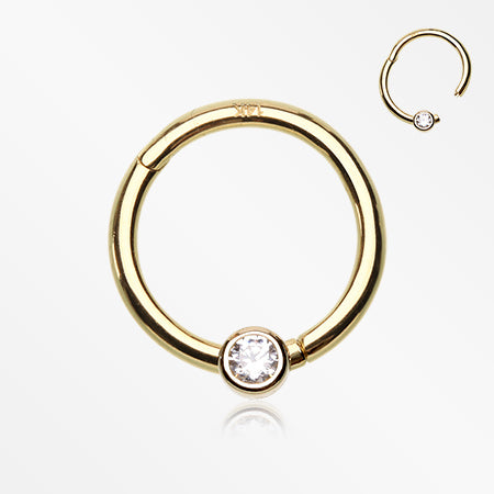 14 Karat Gold Clear Gem CBR Style Seamless Clicker Ring-Clear
