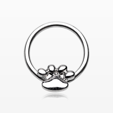 Adorable Puppy Paw Steel Captive Bead Ring