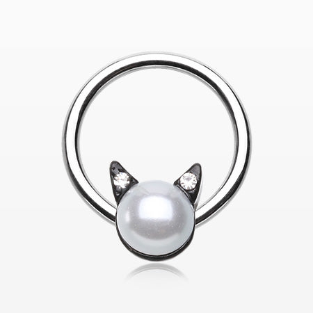Pearlescent Sparkle Kitty Cat Captive Bead Ring-White/Clear