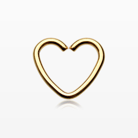 Golden Heart Loop Cartilage Tragus Earring-Gold