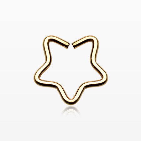 Golden Star Hoop Cartilage Tragus Earring-Gold