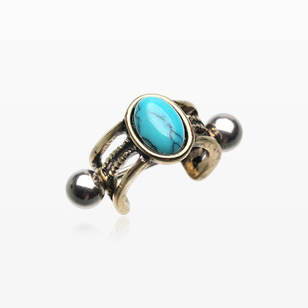 Vintage Golden Turquoise Uladi Rope Cartilage Ear Cuff-Turquoise