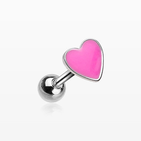 Adorable Heart Cartilage Tragus Barbell-Pink