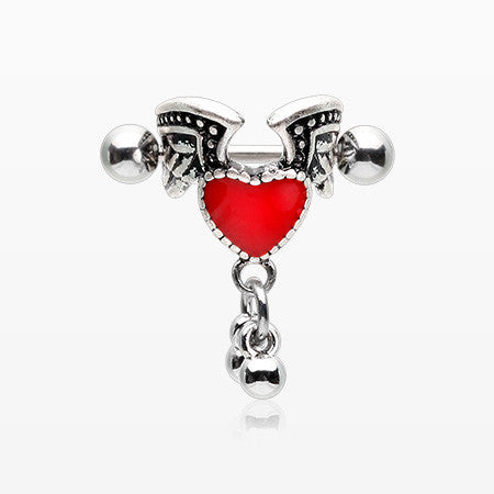 Vintage Angel Heart Cartilage Cuff Earring-Red