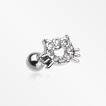 Adorable Kitty Cat Face Sparkle Cartilage Tragus Barbell-Clear