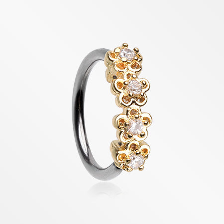 Golden Sparkle Flower Garden Bendable Twist Hoop Ring-Clear