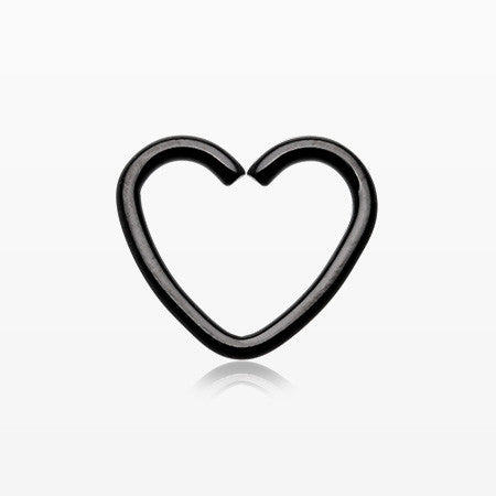 Colorline Heart Loop Cartilage Tragus Earring-Black
