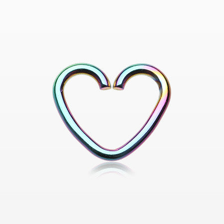 Colorline Heart Loop Cartilage Tragus Earring-Rainbow