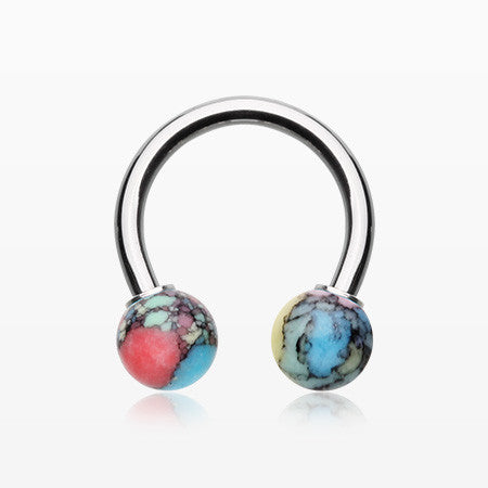 Synthetic Stone Ball Horseshoe Circular Barbell-Rainbow