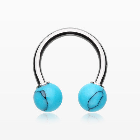 Synthetic Stone Ball Horseshoe Circular Barbell-Turquoise