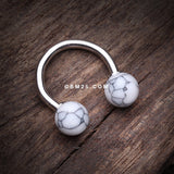 Synthetic Stone Ball Horseshoe Circular Barbell-White
