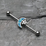 Blue Moon Opal Sparkle Industrial Barbell-Blue/Clear