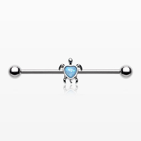 Opalescent Sparkle Heart Turtle Industrial Barbell-Light Blue