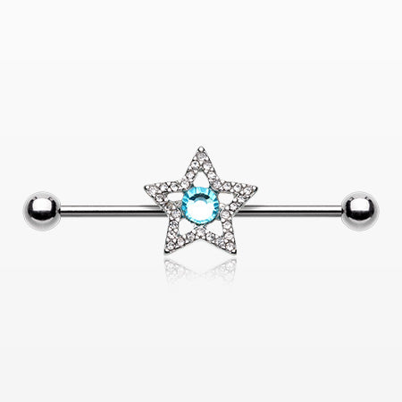 Grand Star Sparkle Industrial Barbell-Clear