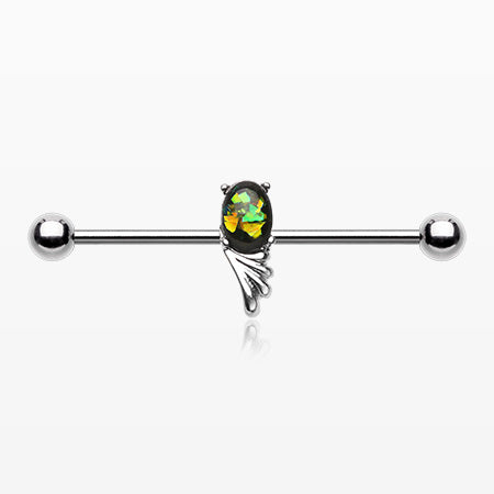 Angelic Wing Opalescent Sparkle Industrial Barbell-Green