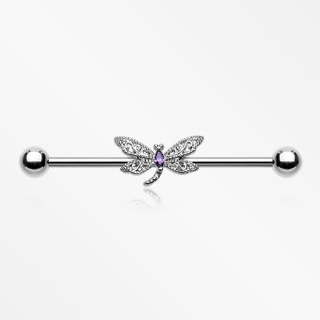 Glam Dragonfly Sparkle Industrial Barbell-Purple