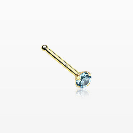 14 Karat Gold Prong Set Gem Top Nose Stud Ring-Aqua