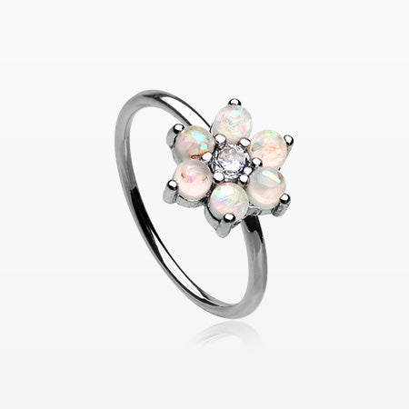 Opalescent Spring Flower Sparkle Bendable Hoop Ring-White
