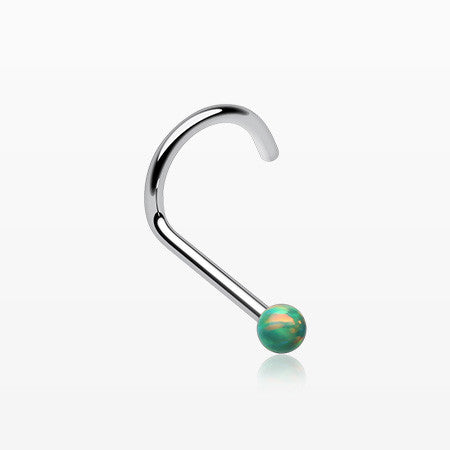 Fire Opal Steel Nose Screw Ring-Green