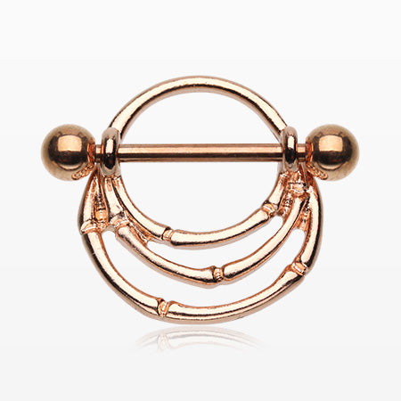 A Pair of Rose Gold Vintage Tribal Bones Nipple Shield Ring