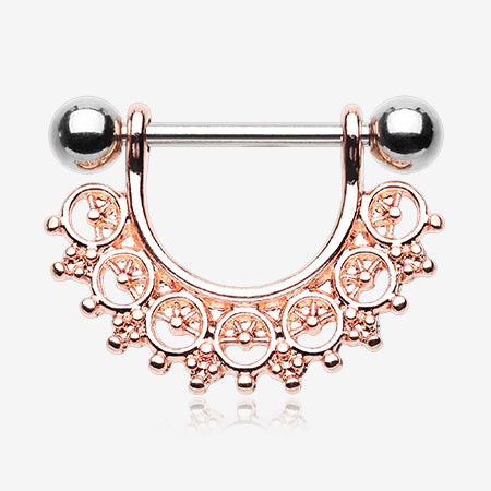 Majestic Royal Filigree Nipple Shield Ring-Rose Gold