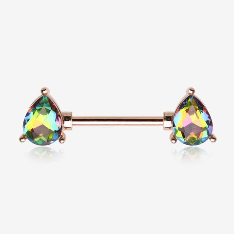 A Pair of Rose Gold Vitrail Medium Sparkle Teardrop Nipple Barbell-Vitrail Medium