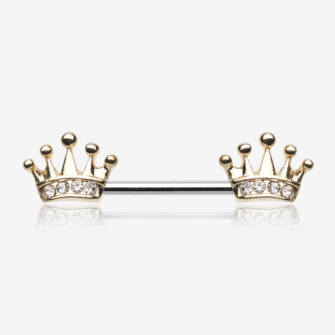 A Pair of Golden Princess Crown Nipple Barbell-Clear