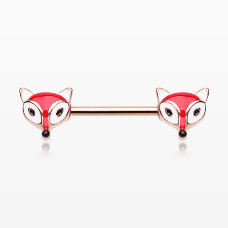 A Pair of Adorable Fabled Red Fox Nipple Barbell