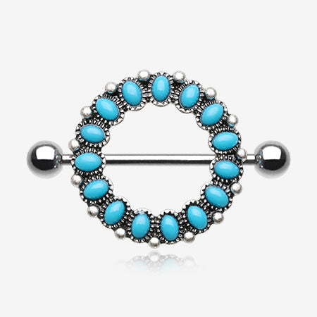 Antique Turquoise Circle of Life Nipple Shield Ring-Turquoise