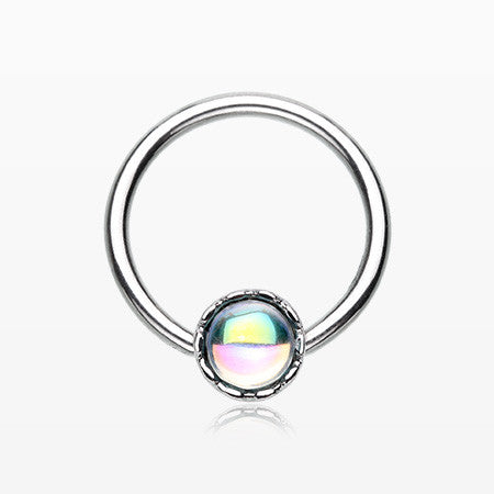 Iridescent Bubble Sparkle Captive Bead Ring-White