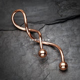 Rose Gold Steel Twister Spiral Belly Button Ring-Rose Gold
